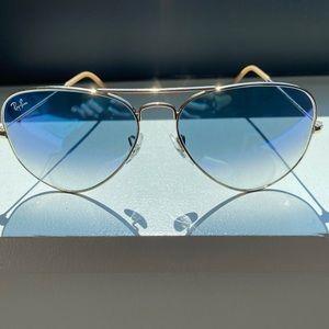Ray-Ban Large Aviator Gradient - Gold/Light Blue